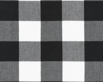 Black and White 2 Inch Plaid Checked Gingham, Robert Kaufman Carolina Gingham, 1 Yard