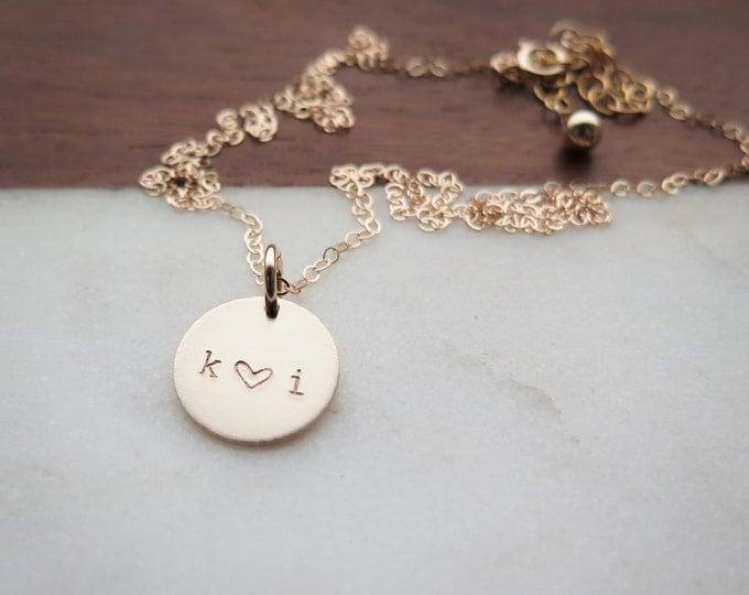 Initial Necklace with Heart - Hand Stamped Jewelry - Layering Necklace - Valentine's Day Gift by Betsy Farmer Designs