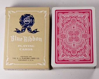Vintage Blue Ribbon Playing Cards 323 Red Rosette Back EUC U.S. Playing Card Co