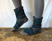 Women's 9 to 10 (EU 40 to 42) Green FAIR ISLE Felted Wool Soccasins with Leather Soles, Toes and Heels