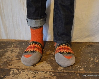Men's 12 to 13 (46 to 47.5) PHOENIX Felted Wool Soccasins with Leather Soles, Toes and Heels
