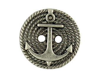 Metal Buttons - Hemp Rope And Anchor Metal Buttons , Gunmetal Color , 2 Holes , 0.70 inch , 10 pcs