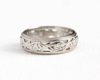 Vintage 14k White Gold .24 CTW Diamond Wedding Band Ring - Retro 1940s Size 6 1/4 Bridal 8 Stone Cigar Band Eternity Milgrain Fine Jewelry