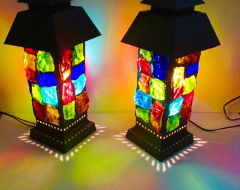Moroccan Chunky Lucite Lamps  Pair Lucite Lamp Set Boho Hollywood Regency Thick LUCITE resin acrylic lamp set stained glass mid century mod