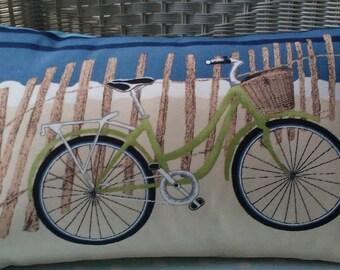 SALE  Beach Bike Pillow Cover 12 x 20 , cushion Cover, Throw Pillow ONE LEFT