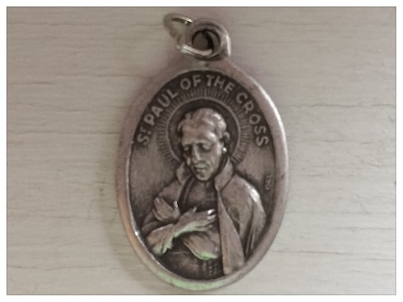 5 Patron Saint Medal Findings, St. Paul of the Cross, Die Cast Silverplate, Silver Color, Oxidized Metal, Made in Italy, Charm, RM904