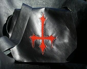 Handmade black leather bag.  Red suede upside down cross.