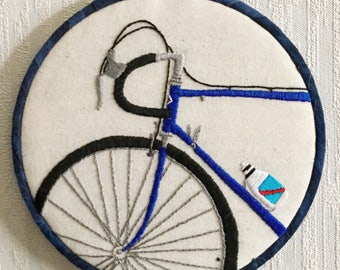 I Want to Ride my Bike Hand Embroidered Hoop Art
