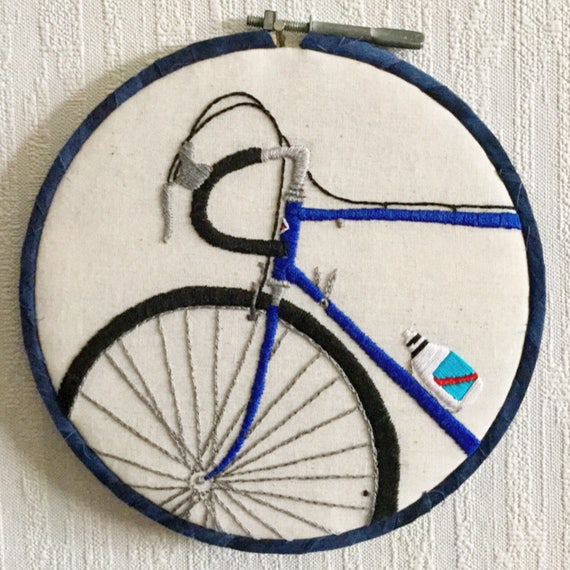 I Want to Ride my Bike Hand Embroidered Hoop Art, Cycling, Bike Iowa, Cyclist, Biking, Bike trails, Whimsical, Hand Embroidered