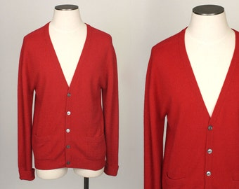 vintage 1960s CASHMERE cardigan • mens red buttoned sweater