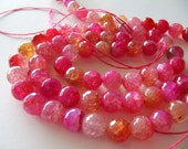 10mm AGATE Beads in Pink and Peach Shades, Faceted, 1 Strand, 15 Inches, Approx 37 Pieces, Round, Gemstones Beads
