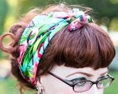 Flamingo Bandana in Turquoise - Flamingo Gift - Rockabilly Bandana - Retro Headscarf - Flamingo Scarf - Tropical Scarf - Kitsch Scarf