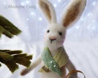 Needle Felted Animal , wool Rabbit , Needle Felted Rabbit , Easter ,  miniature animal , Home decor ,  Waldorf