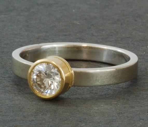 Solitaire Diamond Ring | Simple and Elegant Engagement Ring | 18 Karat Yellow | 14 Karat White Gold