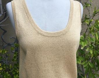 SALE 35% OFF Vintage 1980s 1990s designer St John gold metallic knit sweater tank top size s