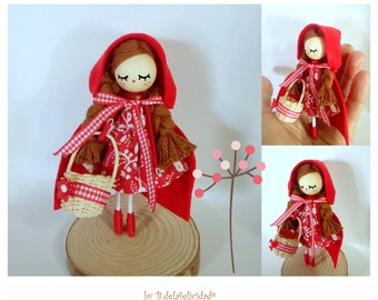 Doll brooch, Red ridding hood doll brooch