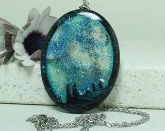 Water scene Abstract  Pendant Oval resin jewelry Birch Plywood Blue silver