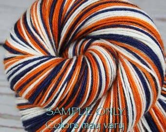 "Dyed to Order: ""BRONCOS"" - Self-striping Sock Yarn - Hand dyed - Indie dyed - NFL inspired yarn - Football team yarn - Team colors yarn"