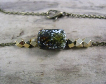 Choker Necklace Ocean Jasper Brass Chain Floating Beads