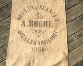 "Original 1956 Mid Century FRENCH Grain Sack Size 47"" long x 26"" wide"