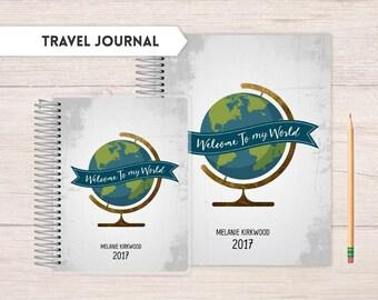 Travel Journal, traveling journal, world travel, notes journal, Travel Experience journal, detailed traveling journal,  welcome to my world