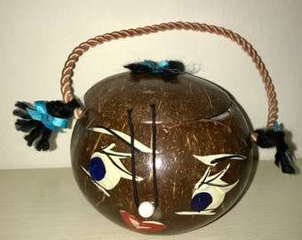 small vintage purse made out of a coconut coconut head purse bag collectible RAD