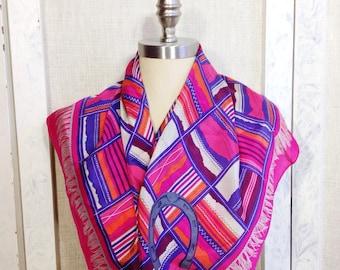 Woman's scarf, silk scarf, equestrian scarf, horse shoe scarf, Perry Ellis, vintage scarf, spring scarf, fashion scarf, spring silk scarf