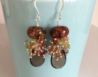 STATEMENT EARRING SALE: Ashira Brown Quartz Briolette with Boro and Gemstones Earring Fancy Cluster Earring