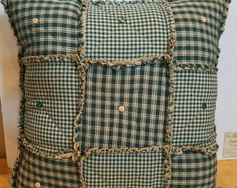 Green Homespun Rag Pillow, Fully STUFFED, Primitive Country Pillow with Buttons, Rustic Pillow, Handmade in NJ