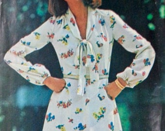 70s Tie Collar Dress Pattern Butterick See & Sew 5766 Size 18 Bust 40 UNCUT