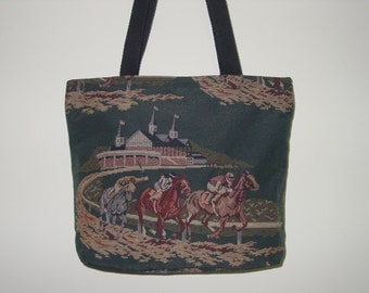 Churchil Downs Horse Racing Tote Purse Tapestry All in One Tote Bag and Purse,Equestrian Handbags
