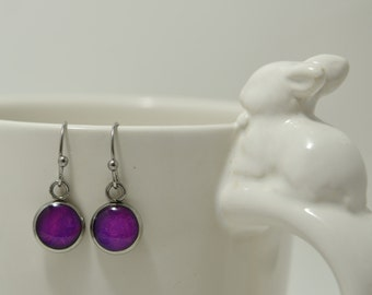 Polite Purple Petite Drop Earrings, with Paper Opal charms, Stainless Steel charm and fishhook style ear wire.