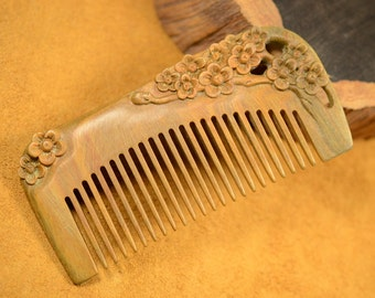 Fragrant Verawood Hair Comb Carving Plum Blossom