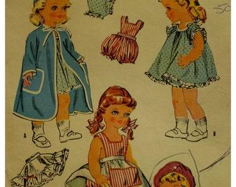"50s Doll Wardrobe Pattern, Sunsuit, Crinoline, Dresses, Robe, Panties, Hat, Jacket, Pinafore, Nightie, McCalls No. 1992 Size 16-17"" Doll"