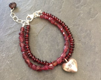 Garnet Double Stranded Bracelet VALENTINES DAY