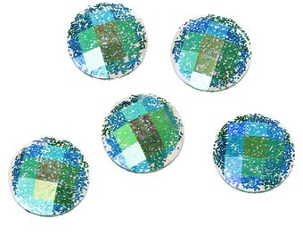 10 Resin Green AB Color Glitter Faceted Dome 8mm
