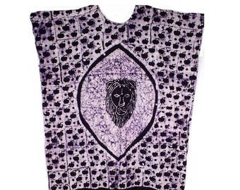 Lion Batik Caftan, Purple and White, New Old Stock, Vintage 1980s, Plus Size XXL 66 Inch Chest