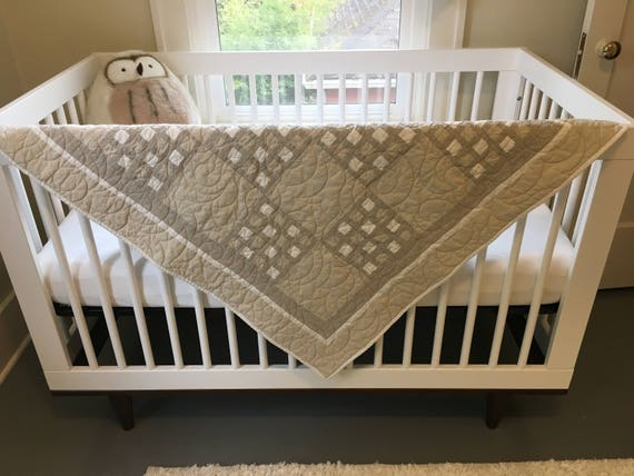Gender Neutral Checkered Baby Quilt - - Taupe & White  Handmade in USA