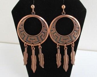 Lg. Southwestern Pierced Earrings w/ Feather Dangles - Vintage Unused w/ Hypo Posts