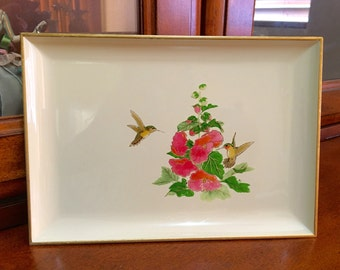 Otagiri Lacquerware Tray with Hummingbird and Floral Motif