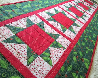Quilted Christmas Winter Star Table Runner