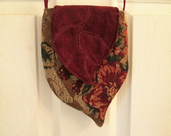 Elven Inspired Tapestry Cross Body Bag with Leaf Flap