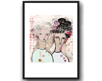 Unique Gift for Sisters, Forever Friends, Sister Birthday Gift, Sister art print best friends or sisters art, two women gift for her