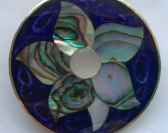 Vintage Alpaca Mother of Pearl Abalone Brooch Mexico