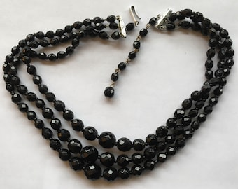 Vintage Three Strand Black Glass Necklace West Germany