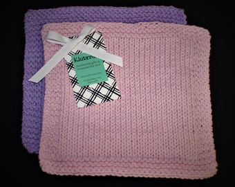 Hand Knit Cotton Wash Cloth Set of 2 Lavender and Soft Pink