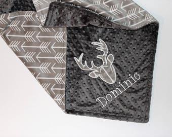 Personalized Baby Boy Blanket, Deer Head Blanket, Arrows Blanket, Silver and Gray Blanket, Buck Head Blanket, Double Minky Blanket, Archer