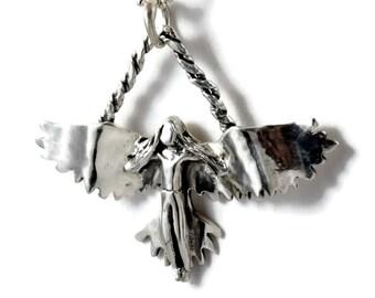 Alyx Allows Her Spirit To Fly - Sterling Silver Jewelry Pendant - Goddess - Empowerment Jewelry - Bird Goddess Art Jewelry Pendant - 2134