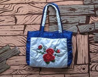 hand made embroidered quilt tote bag