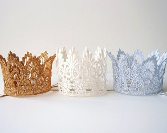 Small Baby Crown - First Birthday Crown - 1st Birthday Crown - Silver - Gold - Ivory - Plain - Lace - Mini - Boy - Girl - Cake Topper